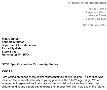 Letter for Schools Minister
